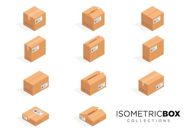 Conjunto de imagens de caixa de embalagem de cartão isométrico Vetor Premium