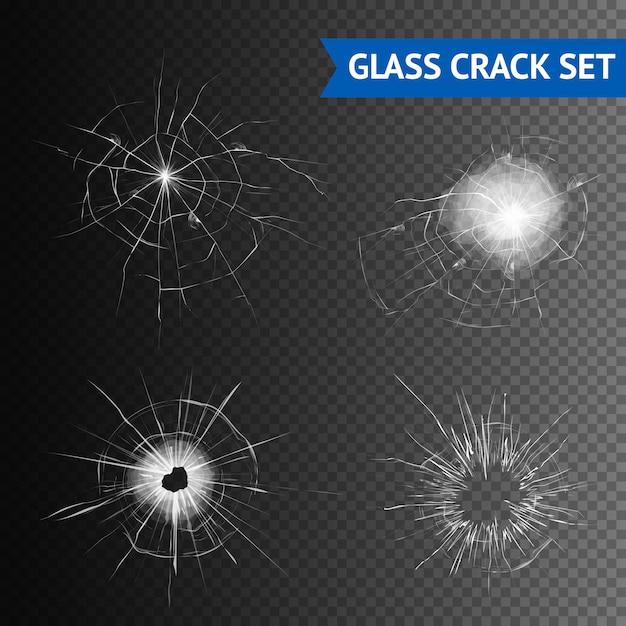 Conjunto de imagens de crack de vidro Vetor grátis