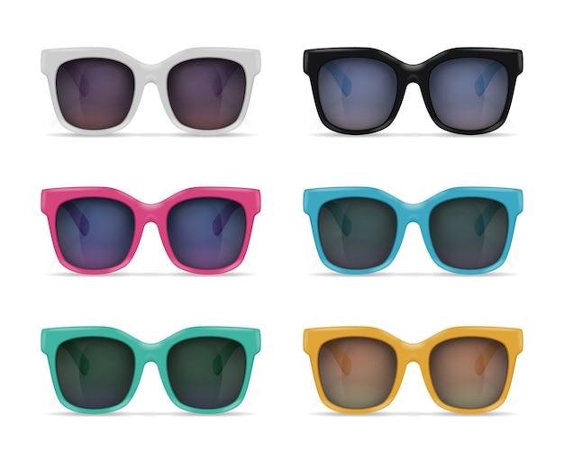 Conjunto de imagens realistas de óculos de sol isolados no fundo em branco com reflexões e modelos coloridos com sombras Vetor grátis