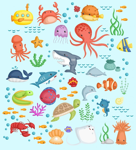 Conjunto de imagens subaquáticas Vetor Premium