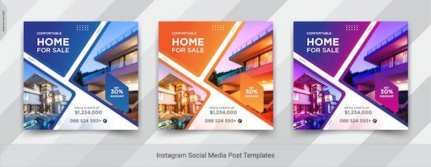 Conjunto de imóveis ou venda em casa instagram mídias sociais post design Vetor Premium