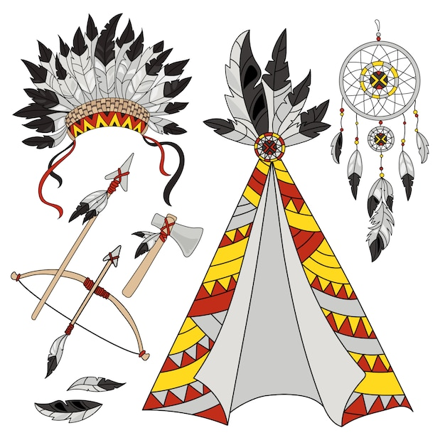 Conjunto de índios americanos do mundo pocahontas Vetor Premium