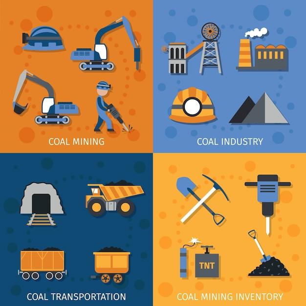 Conjunto de indústria de carvão Vetor grátis