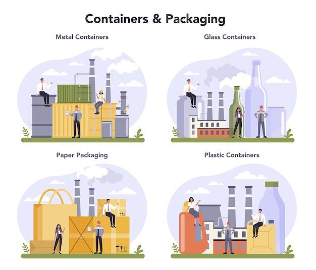 Conjunto de indústria de embalagens e recipientes. material de embalagem de metal, vidro, papel e plástico. padrão de classificação da indústria global. Vetor Premium