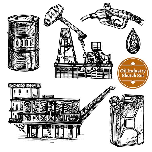 Conjunto de indústria de óleo de esboço de mão desenhada Vetor grátis