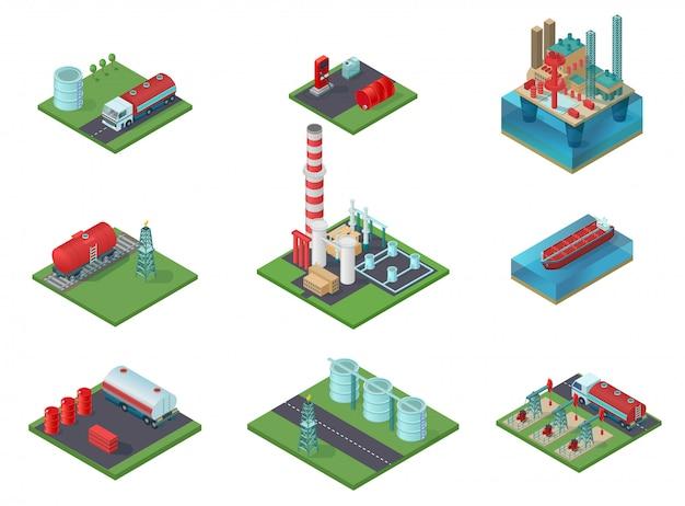 Conjunto de indústria de petróleo isométrica Vetor Premium