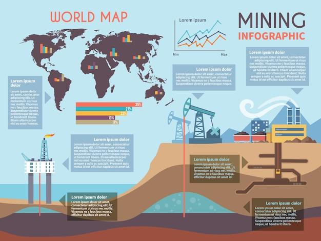 Conjunto de infografia de mineração Vetor grátis