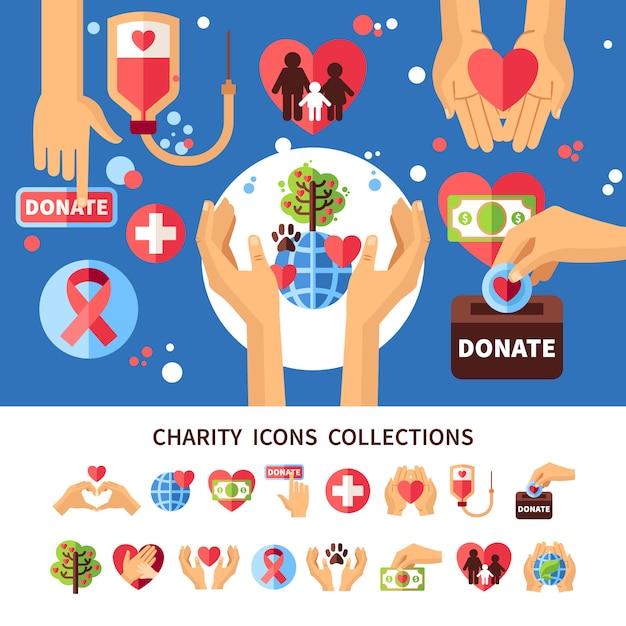 Conjunto de infográfico de caridade Vetor grátis