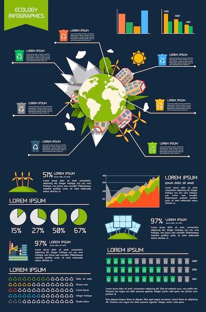 Conjunto de infográfico de ecologia Vetor grátis