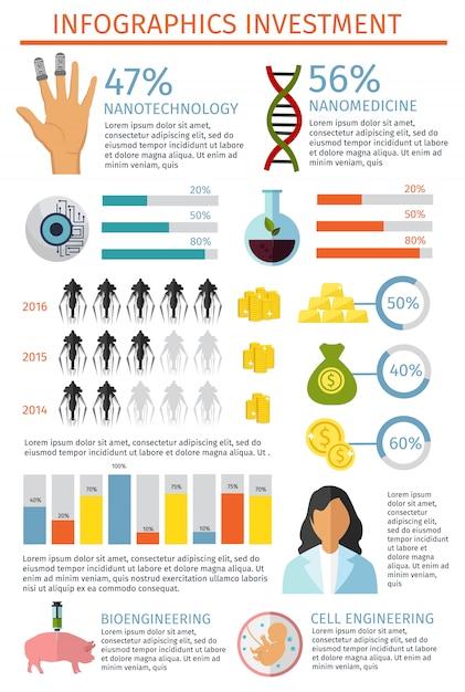 Conjunto de infográfico de investimento Vetor grátis