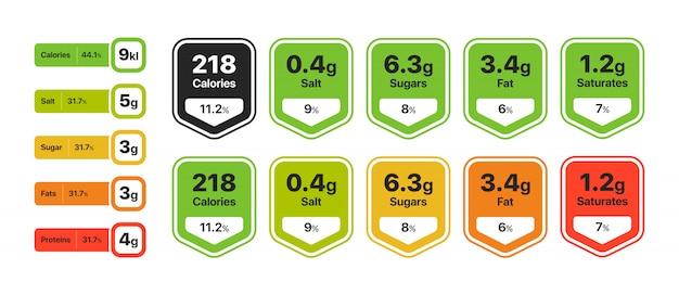 Conjunto de infográfico de valor alimentar Vetor grátis