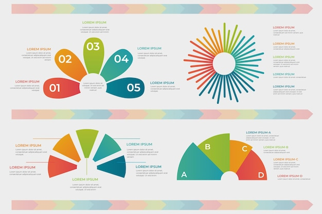 Conjunto de infográfico radial gradiente Vetor grátis