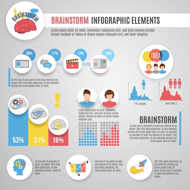 Conjunto de infográficos de brainstorm Vetor grátis