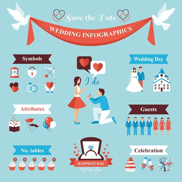Conjunto de infográficos de casamento Vetor grátis
