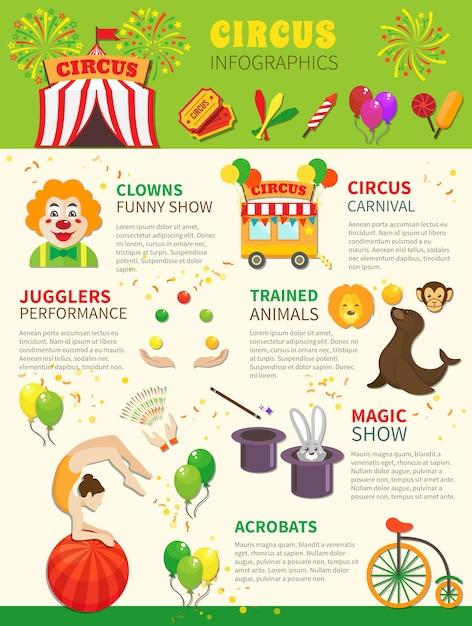 Conjunto de infográficos de circo Vetor grátis