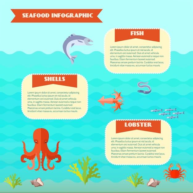 Conjunto de infográficos de comida do mar Vetor grátis