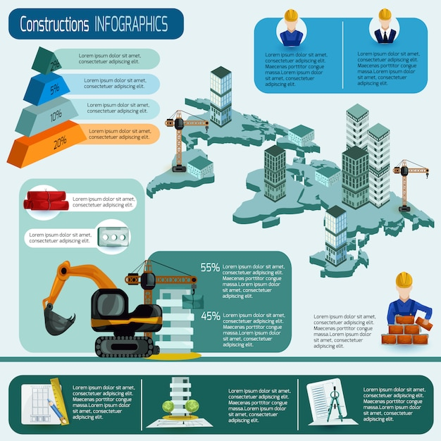 Conjunto de infográficos de construção Vetor grátis
