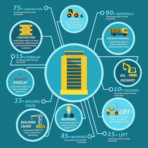 Conjunto de infográficos de edifício Vetor grátis