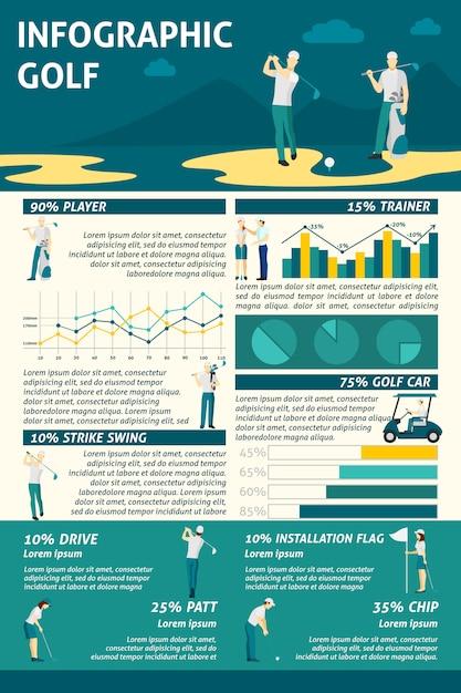 Conjunto de infográficos de golfe Vetor grátis