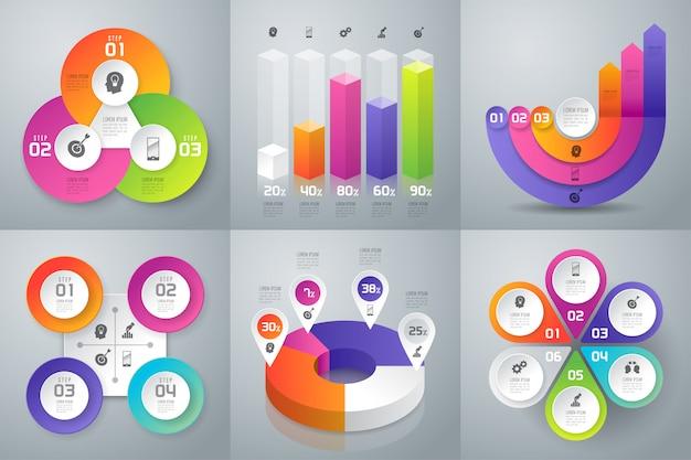 Conjunto de infográficos de negócios Vetor Premium