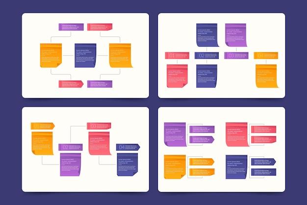 Conjunto de infográficos de painéis de notas adesivas Vetor grátis