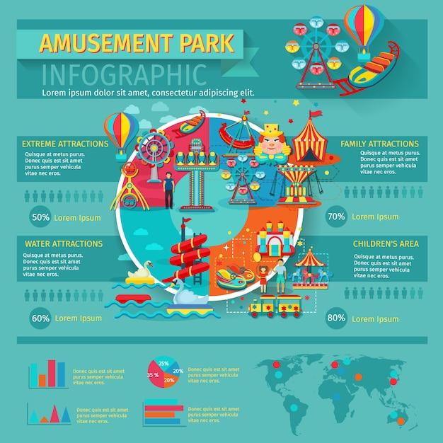 Conjunto de infográficos de parque de diversões com símbolos e gráficos de atrações da família Vetor grátis