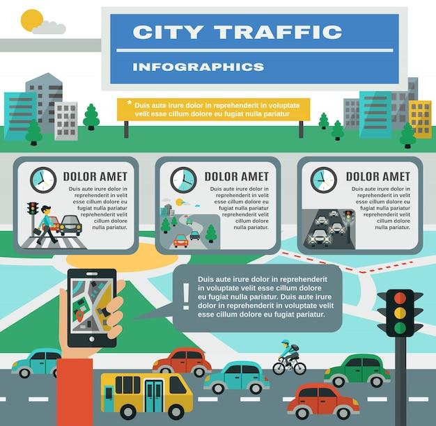 Conjunto de infográficos de tráfego Vetor grátis