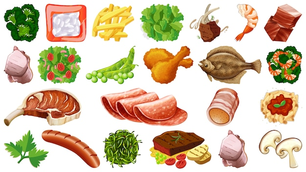 Conjunto de ingredientes alimentares frescos Vetor grátis