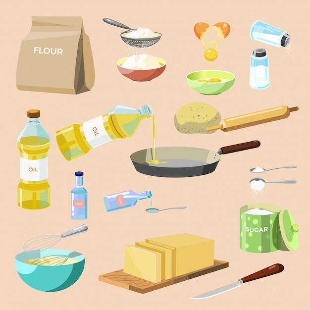 Conjunto de ingredientes de cozimento e utensílios de cozinha. Vetor Premium