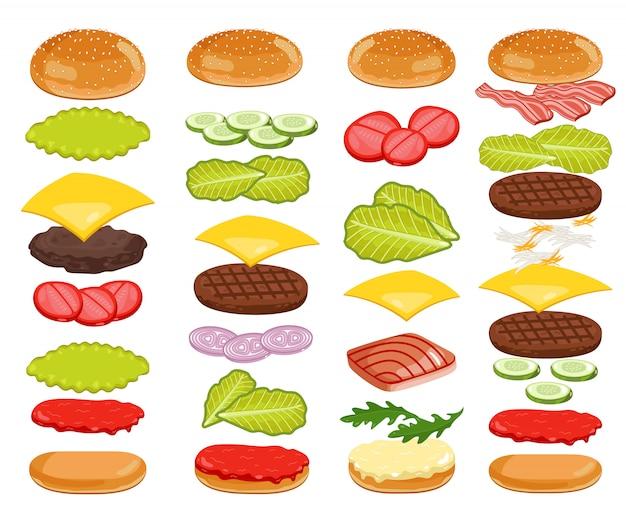 Conjunto de ingredientes de hambúrguer em branco Vetor Premium