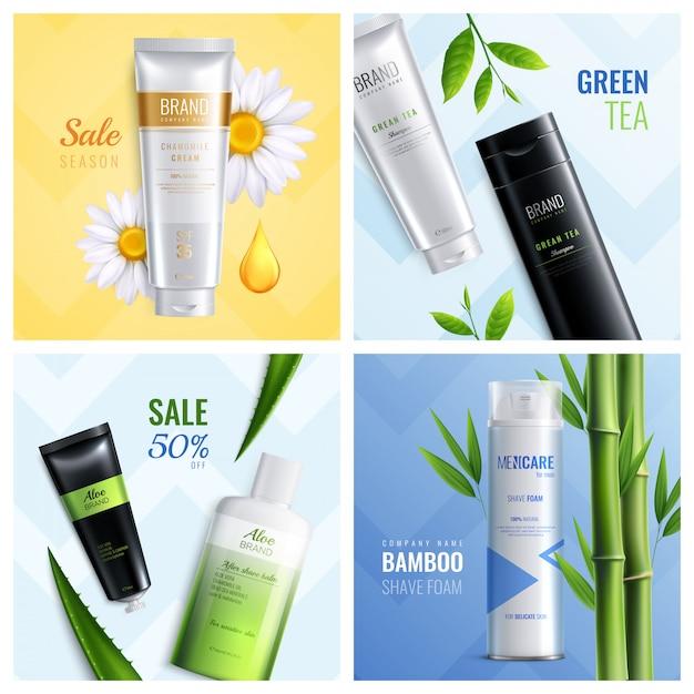 Conjunto de ingredientes de quatro cosméticos orgânicos quadrados com descrições de espuma de barbear de bambu de chá verde de temporada de venda Vetor grátis