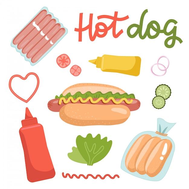 Conjunto de ingredientes para cachorros-quentes, isolado no fundo branco. receita de comida de fato. ilustração plana com letras de mão desenhada. Vetor Premium