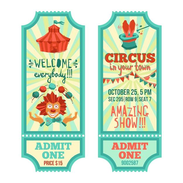 Conjunto de ingressos de circo Vetor grátis