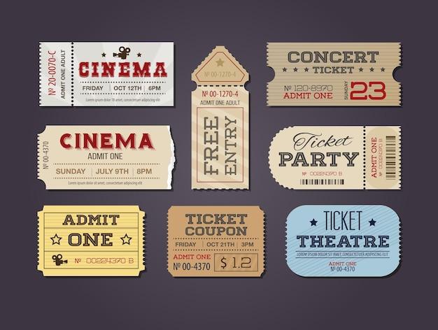 Conjunto de ingressos e cupons de teatro e cinema Vetor Premium