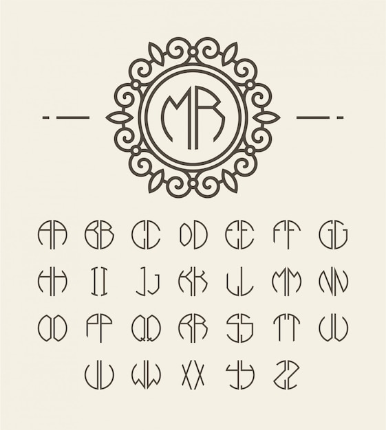 Conjunto de iniciais do alfabeto e monograma de linha Vetor Premium