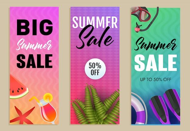 Conjunto de inscrições de grande venda de verão, nadadeiras, melancia e snorkel Vetor grátis