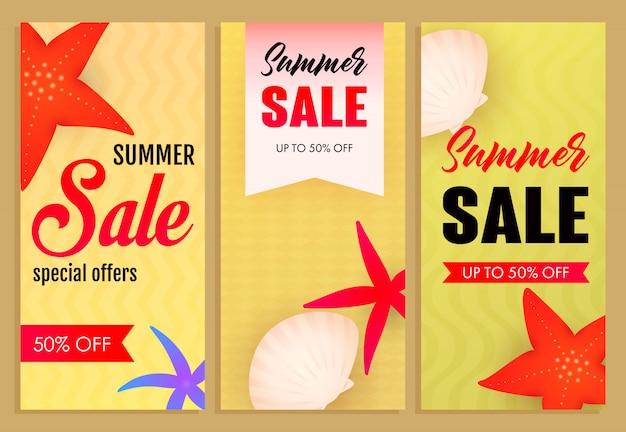 Conjunto de inscrições de venda de verão, estrelas do mar e conchas Vetor grátis