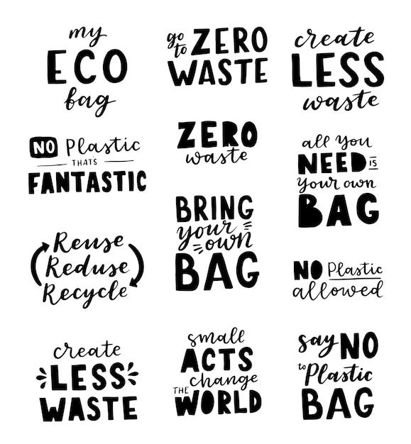 Conjunto de inscrições desenhadas à mão sobre um tema zero waste Vetor Premium