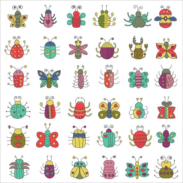 Conjunto de insetos de borboleta, insetos Vetor Premium