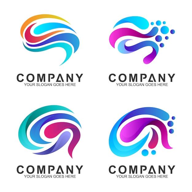 Conjunto de inspiração de design de logotipo do cérebro Vetor Premium