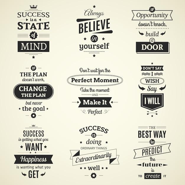 Conjunto de inspirador sucesso cita cartazes tipográficos com motivação de vida criativa Vetor grátis