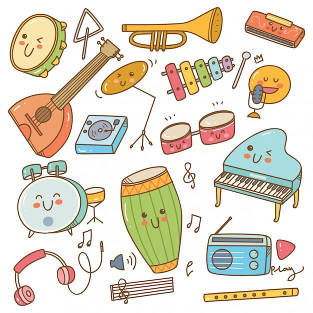 Conjunto de instrumento de música no estilo doodle Vetor Premium
