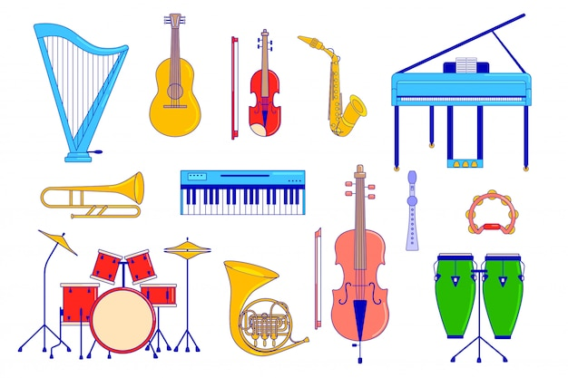 Conjunto de instrumentos musicais em branco, guitarra, piano e bateria, ilustração Vetor Premium