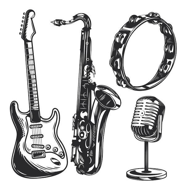Conjunto de instrumentos musicais Vetor grátis