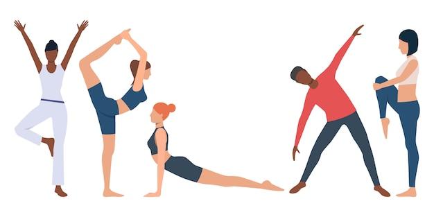 Conjunto de instrutor de fitness praticando ioga Vetor grátis