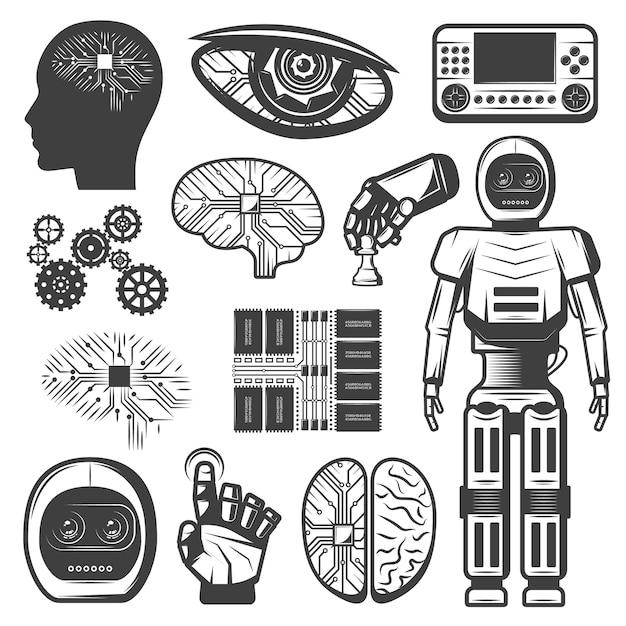 Conjunto de inteligência artificial vintage Vetor grátis