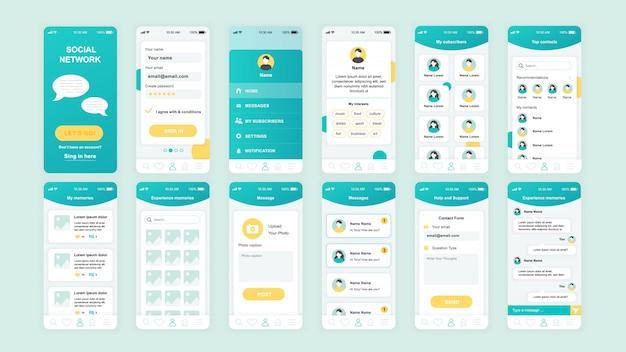 Conjunto de interface do usuário, ux, gui telas social modelo de aplicativo de rede Vetor Premium