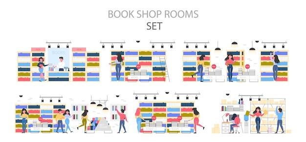 Conjunto de interiores da livraria. pessoas escolhendo e comprando literatura. prateleiras com livros. ilustração. Vetor Premium