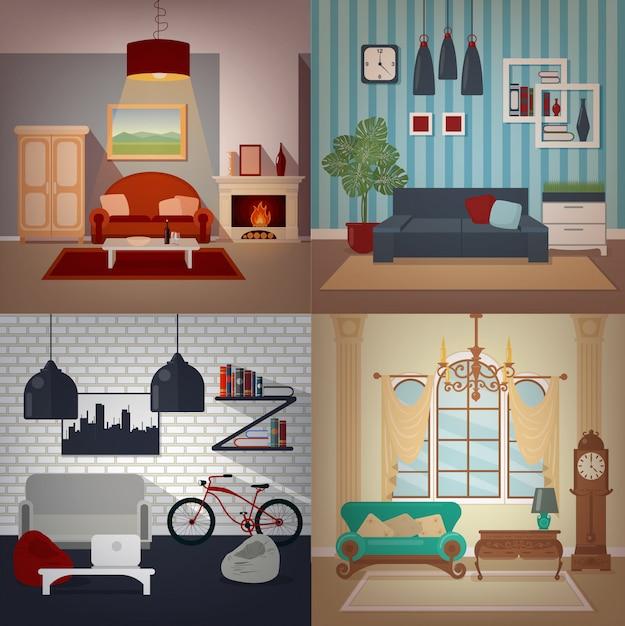 Conjunto de interiores de casas em estilos diferentes Vetor Premium