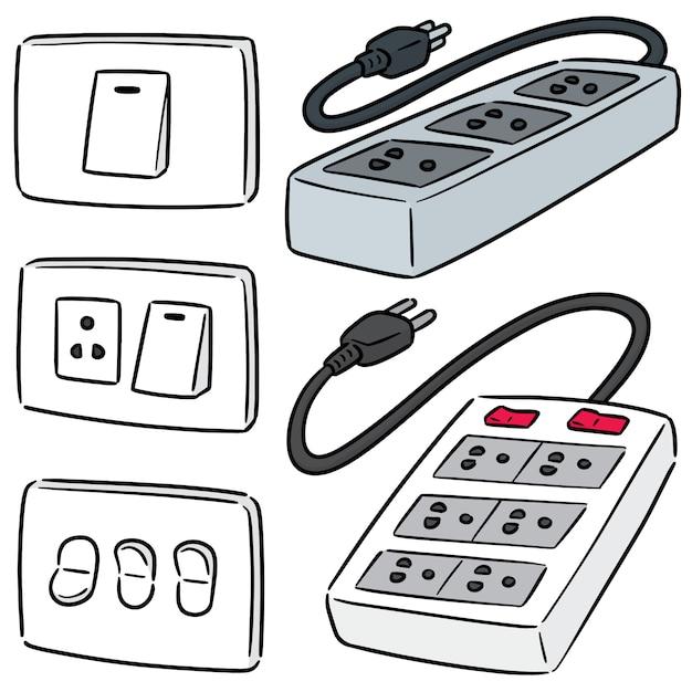 Conjunto de interruptor elétrico e plugue Vetor Premium